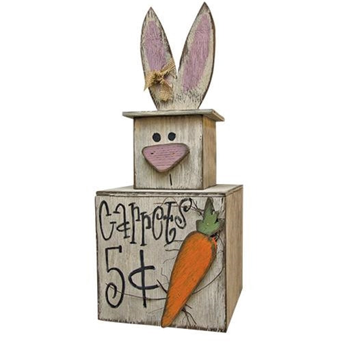 Rustic Wood Bunny Mini Stacker 3-D carrot vine - Jam-Discount Home Decor