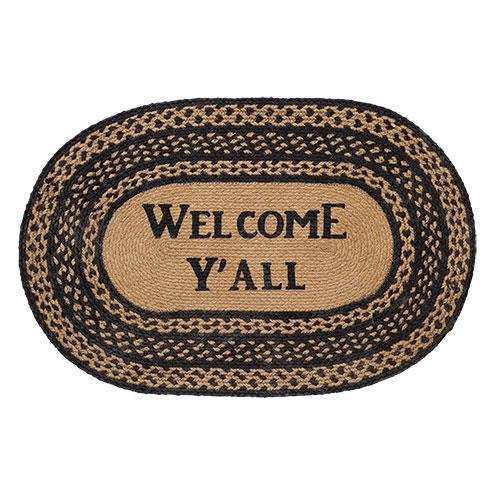 Welcome Y'all Farmhouse Jute Oval Rug - Jam-Discount Home Decor