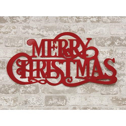 Rustic Red Metal Merry Christmas Wall Sign 24