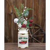 Vintage Tree Farm Country Christmas off White Milk Can Floral Holder - Jam-Discount Home Decor