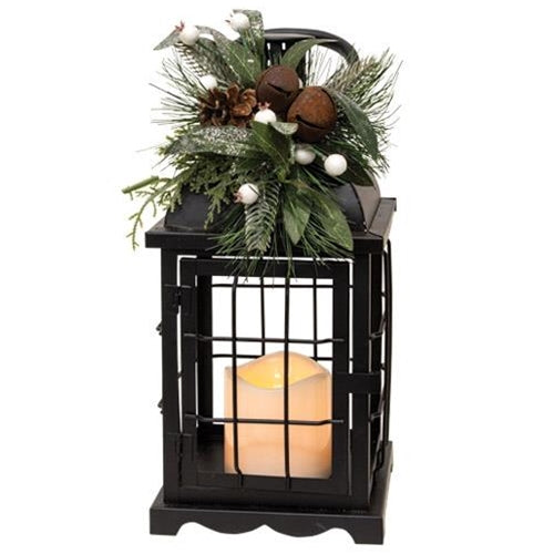 Lighted Metal Holiday Lantern with Greenery