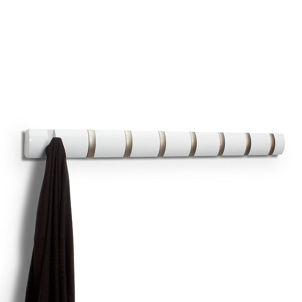 Umbra Flip 8-Hook Wall-Mount Rack/Rail, White/Nickel [7 to 10 Days FREE Delivery]