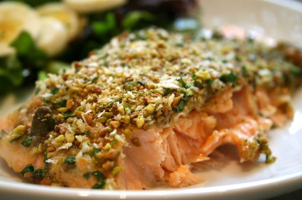 Organic Recipe: Organic Pistachio Crusted Salmon
