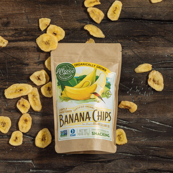 "ORGANIC BANANA CHIPS <div class=""product-description"">Sun-Dried in Organic Coconut Oil</div>"