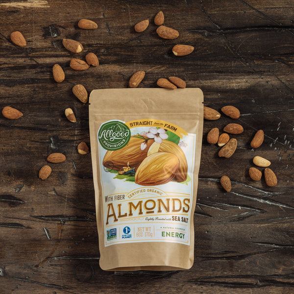 "ORGANIC ALMONDS <div class=""product-description"">Lightly Roasted with Sea Salt</div>"