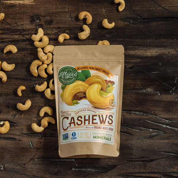 "ORGANIC MAPLE ROASTED CASHEWS <div class=""product-description""> Made with Organic Maple Syrup</div>"