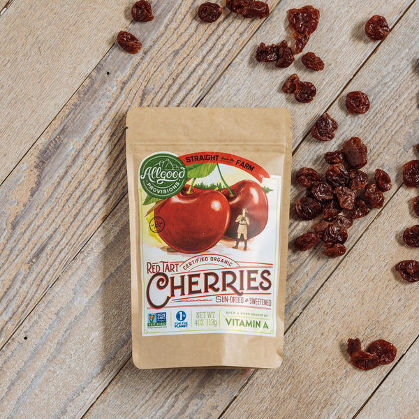"ORGANIC CHERRIES <div class=""product-description""> Sun-Dried & Sweetened</div>"