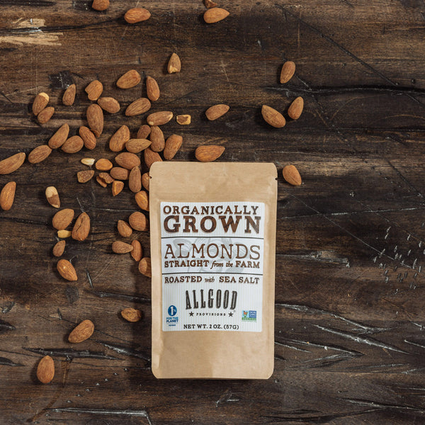 "ORGANIC ALMONDS (6 pack of 2oz pouches)<div class=""product-description"">Lightly Roasted with Seal Salt</div>"