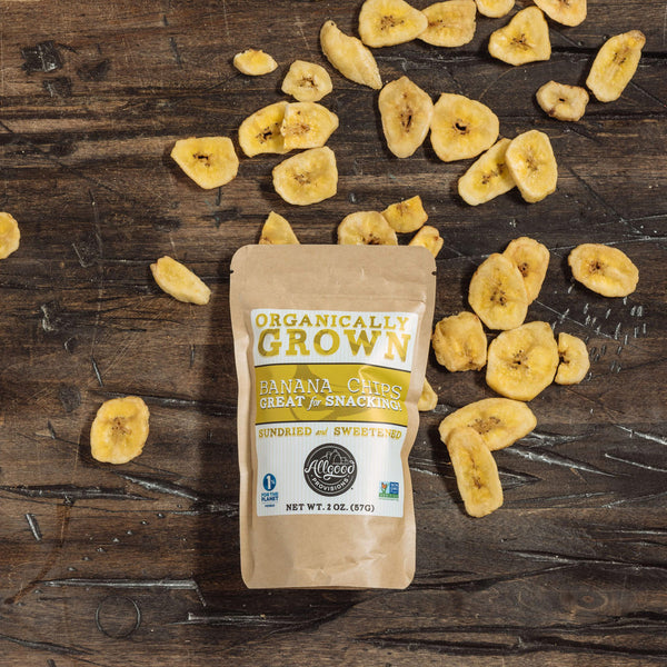 "ORGANIC BANANA CHIPS (6 pack of 2 oz. pouches)<div class=""product-description""> Sun-dried in Coconut Oil</div>"