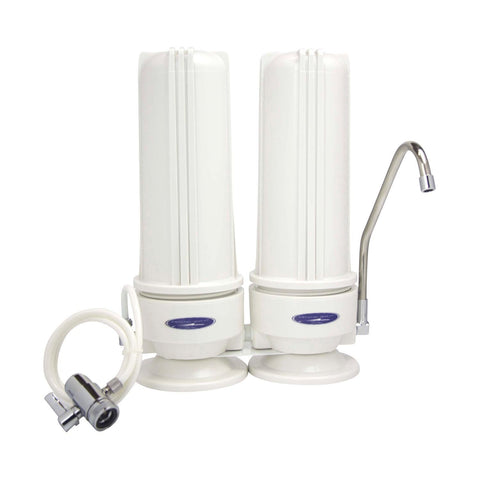 Double / White (Polypropylene) Nitrate Countertop Water Filter System - Countertop Water Filters - Crystal Quest