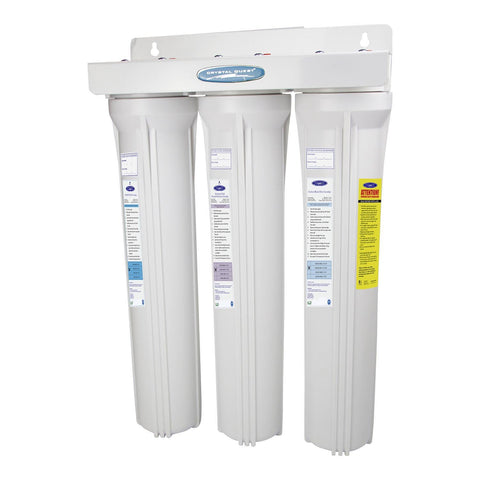 "Triple / 1"" Slimline Whole House Water Filter, Fluoride Removal (2-4 GPM 