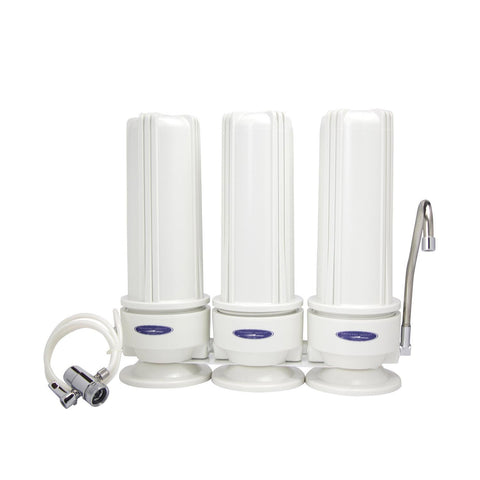 Triple / White (Polypropylene) Nitrate Countertop Water Filter System - Countertop Water Filters - Crystal Quest