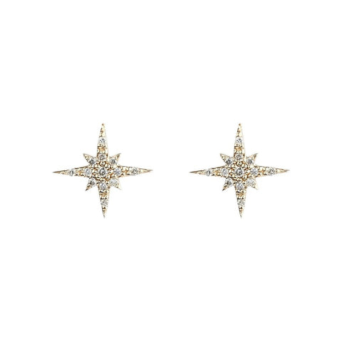 Gold Plated Sterling Silver Starburst Stud Earrings