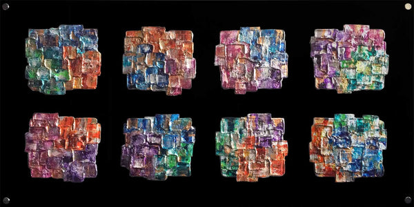 Stunning multicoloured statement abstract piece on glass