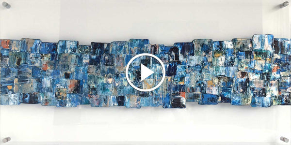 Video 'Interwoven Blue' abstract art on clear plexiglass