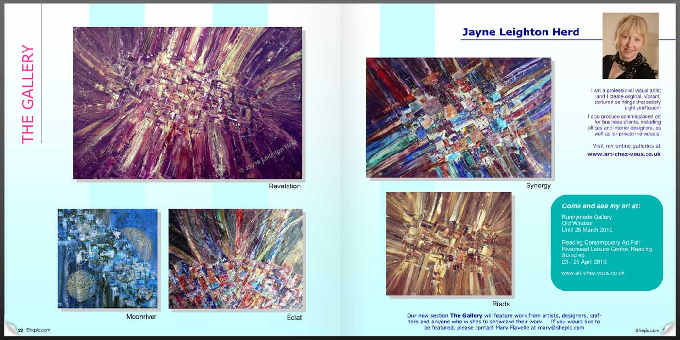 SHEplc Business Buzz features the abstract art of Jayne Leighton Herd