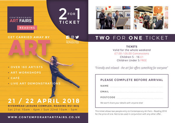 Download 2 for 1 ticket to Reading Contemporary Art Fair 2018