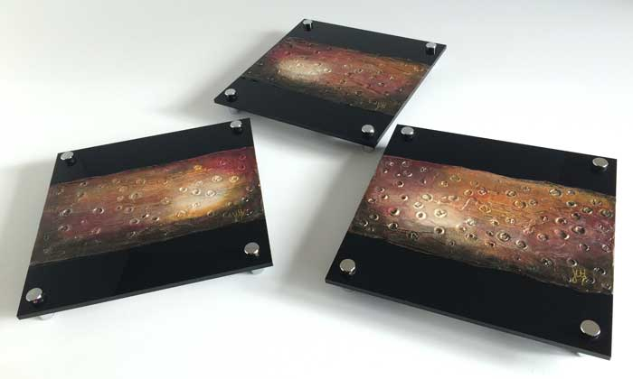 Triptych of original small paintings on black plexiglass