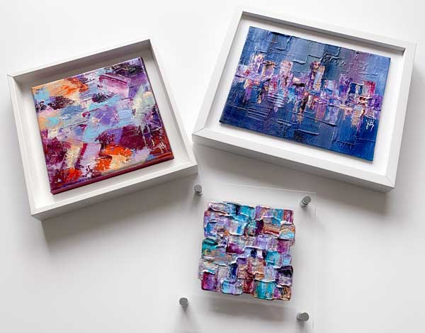 Small abstract paintings by Jayne Leighton Herd
