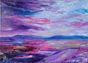 Purple & blue Scottish abstract landscape painting on canvas - Alba III by Jayne Leighton Herd Art & Design