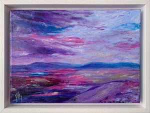 Framed purple & blue Scottish abstract landscape painting on canvas - Jayne Leighton Herd Art & Design