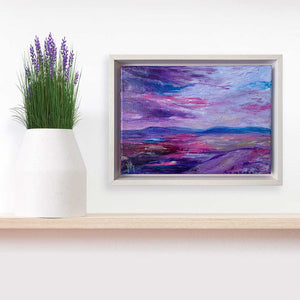 Purple & blue Scottish abstract landscape painting on canvas, framed - Jayne Leighton Herd Art & Design