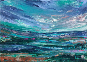 Alba V scottish abstract landscape painting on A4 canvas