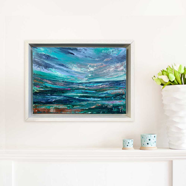 Framed green. teal & blue Scottish abstract landscape painting - Alba V by Jayne Leighton Herd