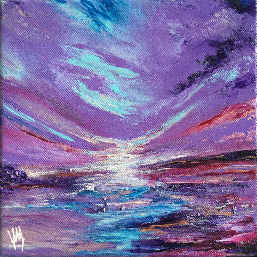 Alba VII small, square Scottish seascape painting on canvas