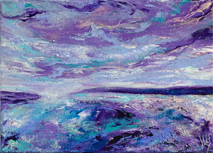 Purple, blue & teal Scottish abstract seascape - Alba XVII by Jayne Leighton Herd