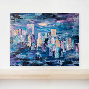 Blue textured abstract cityscape skyline painting on canvas - City Life I by Jayne Leighton Herd