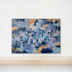 Purple & blue textured abstract cityscape skyline painting on canvas - City Life II by Jayne Leighton Herd