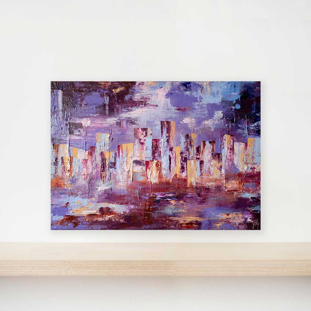 textured abstract cityscape skyline painting on canvas - City Life III by Jayne Leighton Herd