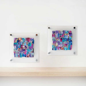'Colour Burst': set of two colourful abstract paintings on frosted plexiglass, contemporary art on glass, paintings on perspex glass