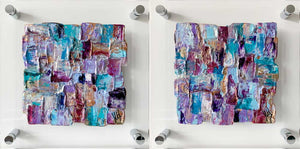 ''Elegance': set of two colourful abstract paintings on clear plexiglass, contemporary art on glass, paintings on perspex glass