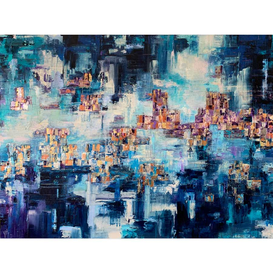 'Emerging' very large blue & gold abstract cityscape skyline painting on canvas by Jayne Leighton Herd