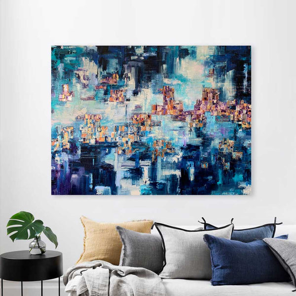 'Emerging' very large blue abstract cityscape skyline painting on canvas
