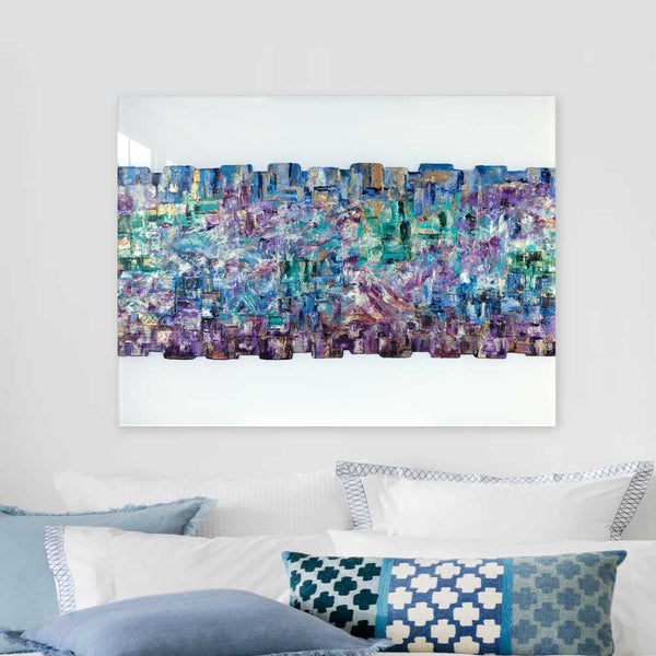 'Here to Stay' - contemporary geometric abstract painting on white perspex glass