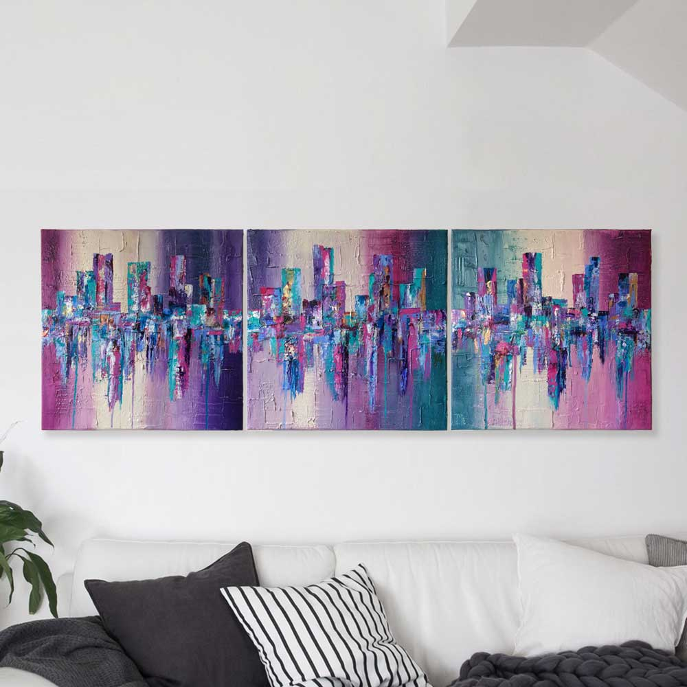 'Living Life' triptych purple pink green abstract cityscape painting on canvas