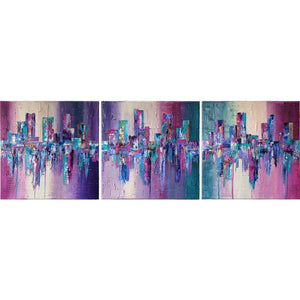 'Living Life' triptych purple pink green abstract cityscape painting by Jayne Leighton Herd