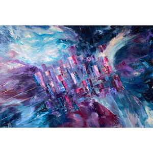 'Living on the Grid' original blue, purple, burgundy abstract cityscape painting by Jayne Leighton Herd