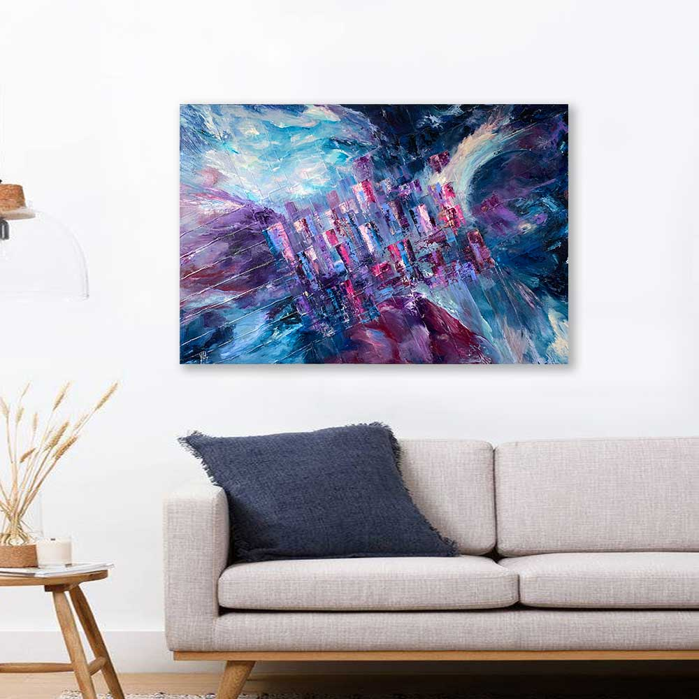 'Living on the Grid' - original vibrant blue, purple, burgundy abstract cityscape painting by Jayne Leighton Herd