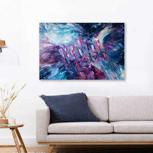 'Living on the Grid' - original vibrant abstract cityscape painting - blue, purple, burgundy