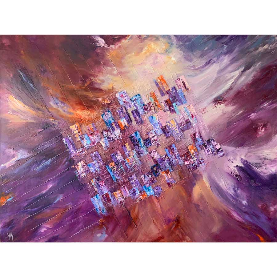 Nature's Way by Jayne Leighton Herd - large colourful abstract cityscape painting interpreting the idea of urban life meets nature!