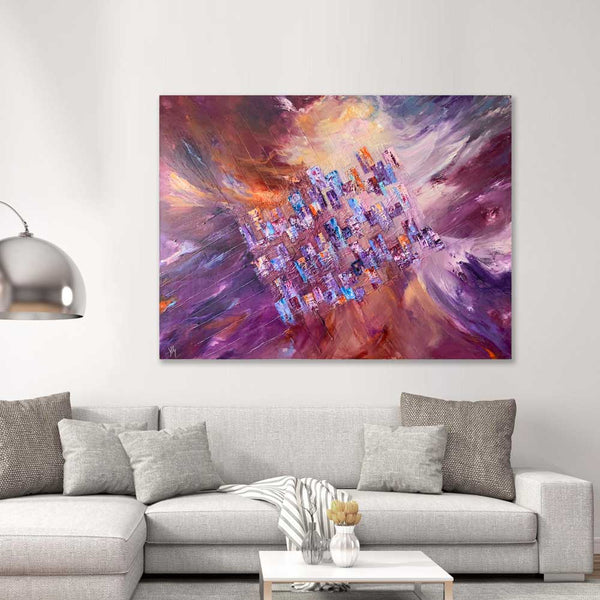 Nature's Way - large colourful abstract cityscape painting interpreting the idea of urban life meets nature!