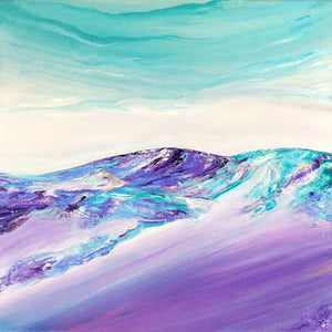'On Purple Slopes' purple & teal abstract mountain landscape painting, Cairngorms, by Jayne Leighton Herd