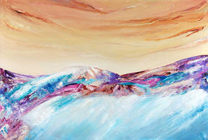 'Perfect Day' - colourful, textured, original abstract landscape mountainscape painting