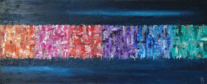 'Queue Jumpling' - textured contemporary abstract painting on canvas