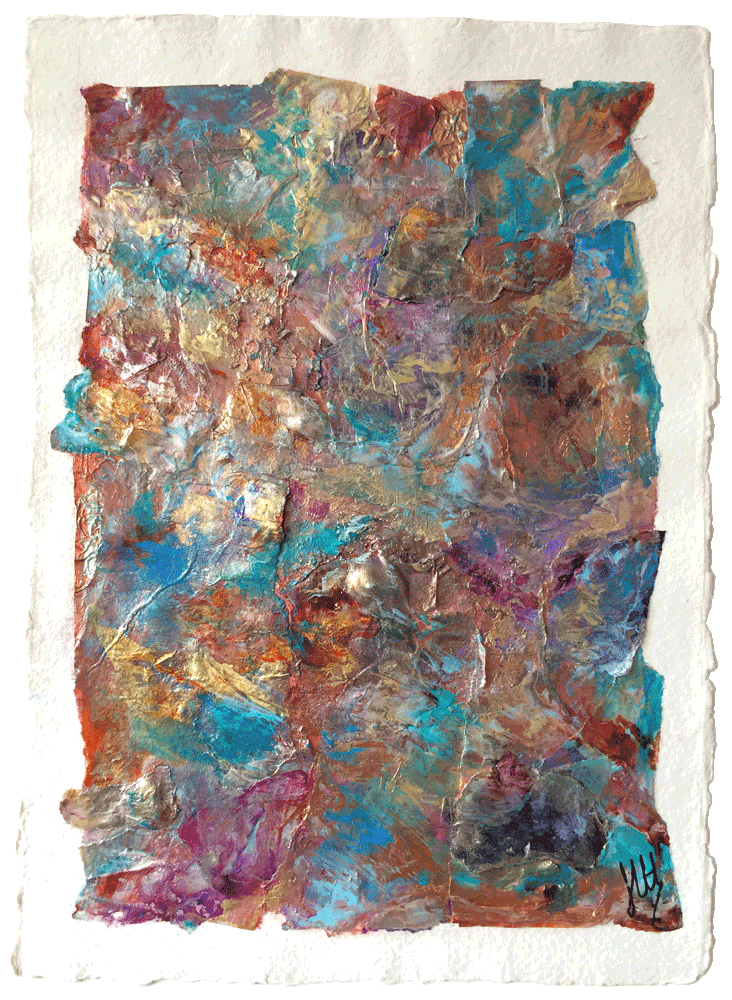 Collage mixed media abstract painting on paper, mounted