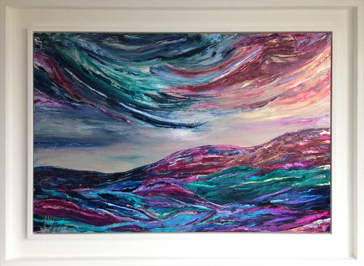 'Sky of Dreams' modern, abstract landscape painting inspired by Scotland